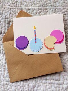 Macaron Macaroon Birthday Candle Card di theadoration su Etsy, $4.00