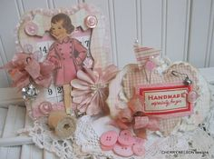 shabby chic little girl paper doll plaque by cherrysjubileecards, $23.00