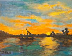 """Evening Glow by Annie St Martin Acrylic ~ 11"""" x 14""""-Sunset, Seascape, Sailboat Oil Painting """"Evening Glow"""" by Florida Impressionism Artist Annie St Martin-http://anniestmartinartist.com/dataviewer.asp?keyvalue=43946&subkeyvalue=1299044&page=WorksZoom"""