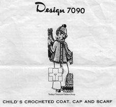 Girls Coat Crochet Pattern Design 7090.  The sweet crocheted coat is hip length with contrast bands and matching pompom beanie.     The pattern is available at Vintage Knit Crochet Pattern Shop