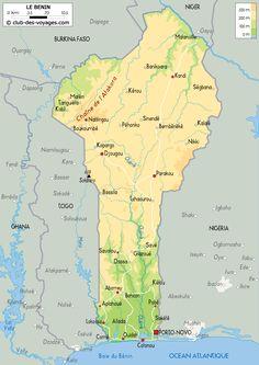 Carte duBénin Africa Map, West Africa, African Countries Map, Cotonou Benin, Country Maps, Destination Voyage, Congo, Vacation Spots, Ali