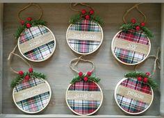 Farmhouse Christmas Ornaments Diy, Tartan Christmas, Handmade Christmas Tree, Christmas Craft Projects, Christmas Ornament Crafts, Rustic Christmas Tree Decorations, Christmas Diy, Christmas Fabric Crafts, Church Decorations