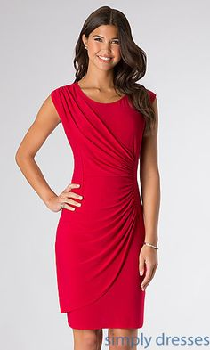 Short Ruched Scoop Neck Dress at SimplyDresses.com