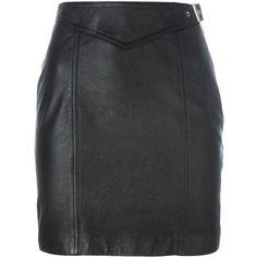 Saint Laurent buckled mini skirt ($810) ❤ liked on Polyvore featuring skirts, mini skirts, black, high waisted short skirts, high-waist skirt, straight skirt, yves saint laurent and short mini skirts