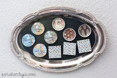 Cute magnets:  flat glass marbles, bottle caps, lace paper, mod podge varieties, magnets, gorilla glue