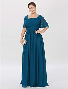 33f12182e34 A-Line Princess Square Neck Floor Length Chiffon Mother of the Bride Dress  with Beading