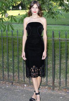 Alexa Chung wearing strapless black velvet dress at the Serpentine Summer Party 2014