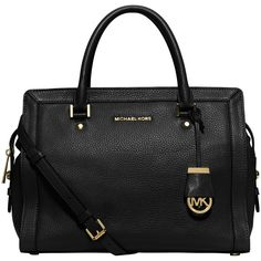 MICHAEL Michael Kors Collins Large Satchel, Black ($505) ❤ liked on Polyvore featuring bags, handbags, leather purse, purse, black leather handbags, satchel handbags and accessories handbags