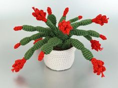 Please note that I sell PDF crochet patterns (see Delivery Information below), NOT completed items! As such, all sales are FINAL. The Christmas Cactus is a popular houseplant also known as Zygocactus, Schlumbergera, and Thanksgiving Cactus. They have flat, segmented stems that