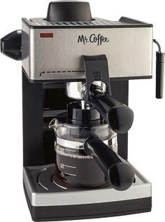 Mr. Coffee - Steam Espresso Machine - Black/Silver, ECM160