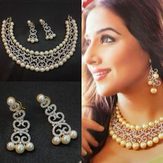 Vidya Balan replica necklace and earrings from Mokanc