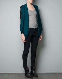DRAPED JACKET WITH FAUX LEATHER APPLIQUÉ - Grey - $59.90