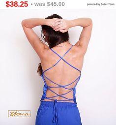 open back top blue satin top backless top sexy top by ElianaStudio