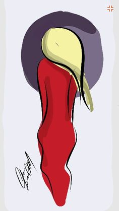 Women with red dress and blond hair illustation ... by me : carolina nasser... if you like it follow me  and pin it