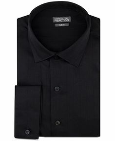 Kenneth Cole Reaction Slim-Fit Textured Solid French Cuff Shirt - Dress Shirts - Men - Macy's
