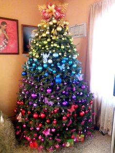 New Trend in Rainbow Christmas Tree Rainbow Christmas tree Rainbow Christmas Tree, Christmas Tress, Christmas Tree Inspiration, Elegant Christmas Trees, Creative Christmas Trees, Summer Christmas, Christmas Tree Themes, Christmas Makes, Christmas Tree Decorations