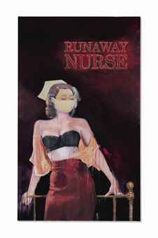 Richard Prince (B. 1949) Runaway Nurse signed, titled and dated 'R. Prince Runaway Nurse 2005-06' (on the overlap) inkjet and acrylic on canvas 110 ¼ x 66 in. (280 x 167.6 cm.) Painted in 2005-2006. $9.8mm