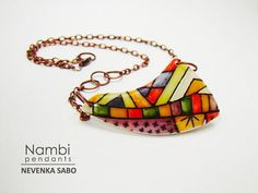 Nambi vibrant colorful and fun pendant made by ArtStudioKatherine, $36.00