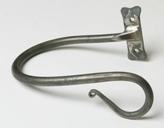 handforged wrought iron shepherd's crook holdback by Nigel Tyas ironwork Curtain Poles, Curtain Tie Backs, Curtain Designs, Dry Hands, Liquid Soap, Knives And Swords, Kitchen Knives, Washing Clothes, Wrought Iron