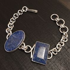"""Clearance-Sterling Silver & Sodalite Bracelet Size 7.5 inches long  Stamped """"925"""". Sterling silver bracelet with a brushed finish to give a vintage design a modern twist  Sterling silver is an alloy of silver containing 92.5% by mass of silver and 7.5% by mass of other metals, usually copper. The sterling silver standard has a minimum millesimal fineness of 925.  All my jewelry is solid sterling silver. I do not plate.   Hand crafted in Taxco, Mexico.  Will ship within 2 days of order…"""