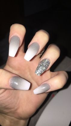 Grey ombre with silver accent nail AcrylicNailsOval accent acrylicnailsoval - Grey ombre with silver accent nail AcrylicNailsOval accent acrylicnailsoval grey Nail ombre - Silver Acrylic Nails, Cute Acrylic Nails, White And Silver Nails, Accent Nail Designs, Ombre Nail Designs, Graduation Nails, Homecoming Nails, Glitter Accent Nails, Gray Nails