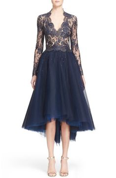Reem Acra Chantilly Lace & Embellished Tulle High/Low Dress available at #Nordstrom