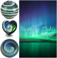 Northern Lights memorials, infused with cremation ash, come in heart, giant heart, globe and galaxy globe designs, all available from Celebration Ashes.