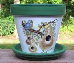Terra Cotta Flower Pot with Bluebirds and Gourds : (LAST ONE!) © Original Design by: Ellens Clay Creations/Painted Seasons This ceramic