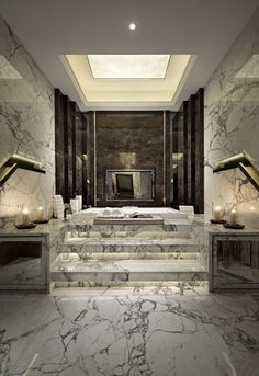 Marble stairs to the sunken tub.
