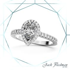 The Halo Collection is eye-catching and dramatic. This engagement ring puts emphasis on geometry, symmetry and clean lines, the smaller diamonds around the center diamond make the pear-shaped diamond appear larger. Enagement Rings, Pear Diamond Engagement Ring, Halo Collection, Pear Shaped Diamond, Clean Lines, Geometry, Larger, Heart Ring, Diamonds