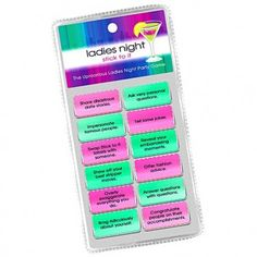 A simple, hilarious hens party game perfect for girls nights and bachelorette parties. Stick To It contains 12 colourful, static-adhesive little labels, each spelling out a dare. Games For Ladies Night, Hens Night Games, Girls Night, Games On Sale, Hen Party Games, Drinking Games, Lady, Bachelorette Parties, Spelling