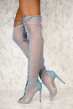 Sexy Denim Sheer Open Toe Lace Up Thigh High Heel Boots These boots are the perfect go to with a cut Thigh High Boots Heels, Hot High Heels, Heeled Boots, Bootie Boots, Boot Heels, Platform Ankle Boots, Heeled Sandals, Knee Boots, Sexy Boots