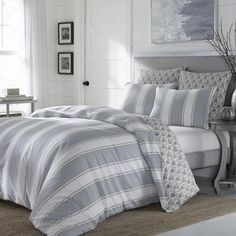 Shop for Stone Cottage Calista Grey Stripe Cotton Sateen Comforter Set. Get free shipping at Overstock.com - Your Online Fashion Bedding Outlet Store! Get 5% in rewards with Club O! - 20878212