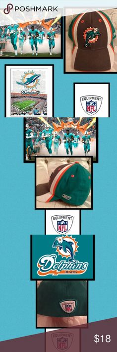 "🔥NFL•Miami Dolphins•Fitted RetroEmbroidered•Hat Officially Licensed NFL•Reebok•Miami Dolphins•Youth Aqua fitted hat•embroidered retro logo  Oct 24, 2016 - By 1974, the dolphin's body was centered on the sunburst. The logo is a sunburst with a leaping dolphin wearing a football helmet bearing the letter ""M."" Within the logo, the aqua, along with the marine blue inspired by the color of South Florida's Atlantic Ocean; while the orange is representative of the bright South Florida sun. NFL…"