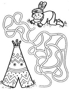 Crafts,Actvities and Worksheets for Preschool,Toddler and Kindergarten.Lots of worksheets and coloring pages. Mazes For Kids, Worksheets For Kids, Crafts For Kids, Native American Crafts, American Indians, Maze Worksheet, Wild West Party, Cultural Crafts, Cowboys And Indians