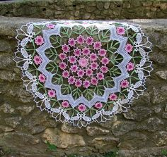 "Ravelry: ElisaM's Doily ""Roses & Butterflies"" #crochet #irishlace #lace #flower #rose #leaf #butterfly #doily"