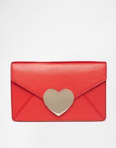 ASOS Love Heart Envelope Clutch Bag
