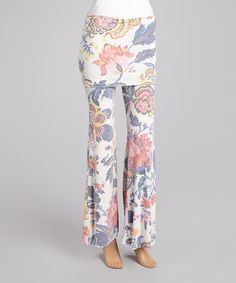 Take a look at this Pink & Blue Floral Fold-Over Lounge Pants by Rebecca Michaels on #zulily today!