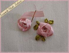 bordado com fitas - botões de rosa