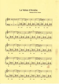 Música melódica astral: partitura para piano la valse d'Amélie Amelie, Piano Sheet Music, Music Sheets, Piano Man, Digital Sheet Music, Music Score, Reasons To Live, French Films, Music Theory