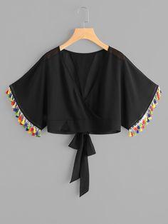 Shop Wrap V Neckline Fringe Trim Tie Back Top online. SheIn offers Wrap V Neckline Fringe Trim Tie Back Top & more to fit your fashionable needs.