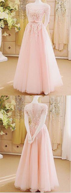 A-line Illusion Floor-Length Tulle Appliqued Pink Bridal Dresses ASD2569 #bridaldress #weddingdress #applique #pink #princess #romantic