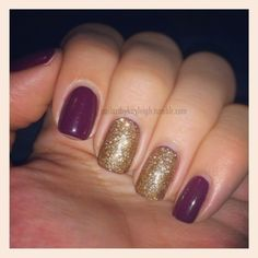 Fall Plum And Gold. But only one accent nail.