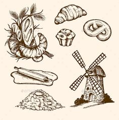 Set of Vintage Bakery Items