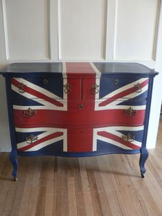 SPECIAL ORdER : Super CHiC hand painted Union JACK English flag antique wood Dresser (Special orders AVAILABLE)