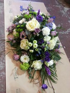 Large top spray, arrangement of flowers for coffin. All our flower arrangements are done especially for you and can be done in any colour combinations. www.tippettsflorist.com Alter Flowers, Amazing Flowers, Silk Flowers, Funeral Floral Arrangements, Flower Arrangements Simple, Casket Flowers, Funeral Flowers, Funeral Sprays, Funeral Tributes