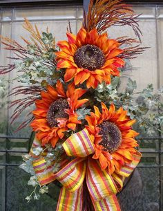 Fall Wreath Orange Sunflower Swag Front Door Wreath Autumn Decor Sunflower Bouquet Pretty fall sunflower bouquet. Use as a wall arrangement or a
