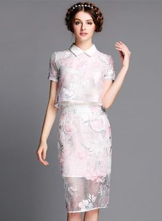 White Short Sleeve Floral Organza Two Pieces Dress - abaday.com