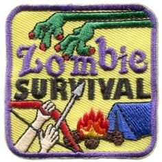 Zombie, Survival, Zombie Survival, Tent, Fire, Bow, Arrow, Patch, Embroidered Patch, Merit Badge, Badge, Emblem, Iron On, Iron-On, Crest, Lapel Pin, , Girl Guides