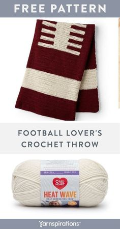 Free Football Lovers Crochet Throw pattern using Red Heart Heat Wave yarn. Be the MVP in your cheering section with this imaginative crochet blanket! Red Heart Heat Wave makes this project extra-toasty, while a whimsical crochet intarsia motif showcases your love of the game! It's a blanket that be enjoyed from the season opener, all the way to Superbowl Sunday. #yarnspirations #RedHeart #heatwave #redheartheatwave #crochetblanket #crochetfootball Crochet Throw Pattern, Crochet Quilt, Knit Or Crochet, Free Crochet, Crochet Poncho, Afghan Crochet Patterns, Macrame Patterns, Knitting Patterns, Beginner Crochet Projects